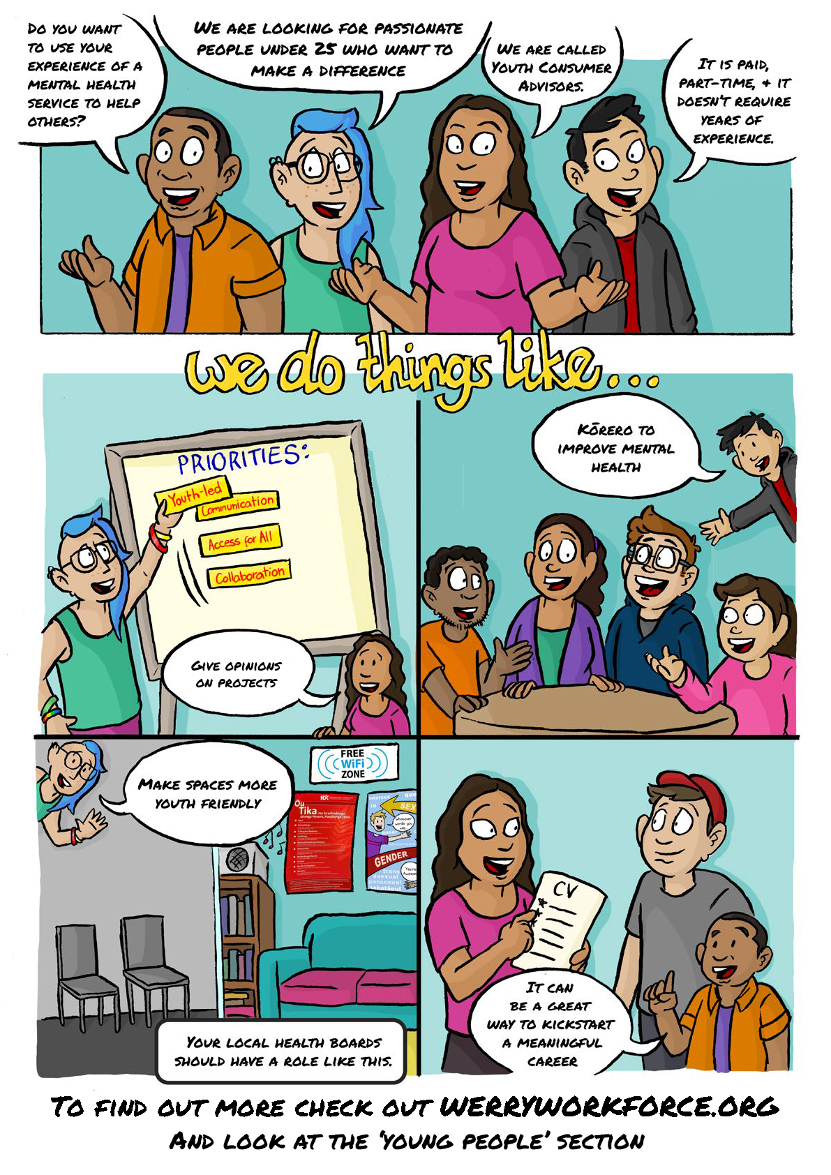 A comic telling about the youth consumer advisor role. Click for full screen